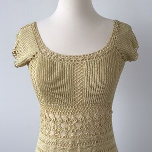 Beautiful yellow crochet designer dress sz small